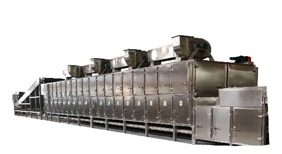 多层双侧热风循环网带式干燥机